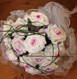 Весільний букет нареченої зі штучних квітів