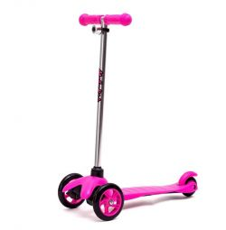 scooter pink, blue, green.
