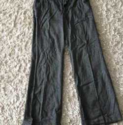 Продам серые шерстяные брюки