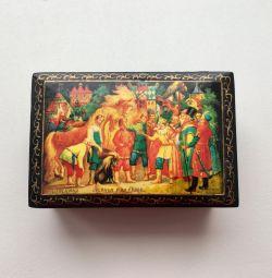Шкатулка Федоскино лаковая миниатюра