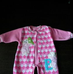 Pink fleece overalls