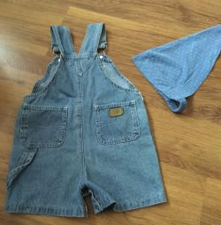 Denim overalls-shorts