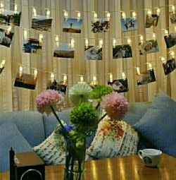 Гирлянда с прищепками для фотографий на стену