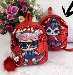 Children's backpack with a doll lol