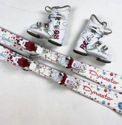 Children's alpine skiing 100 cm + boots 19 cm