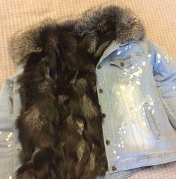 Джинсовая куртка с натуральным мехом енота