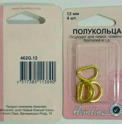 12 χιλιοστά μισά δαχτυλίδια 4 τεμάχια Hemline