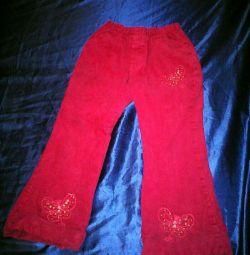 Вельветові штани з утеплювачем на дівчинку