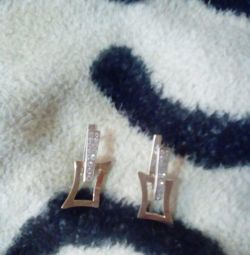 Earrings silver with gold