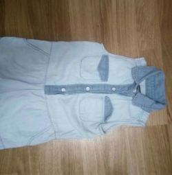 Denim jumpsuit shorts