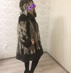 Mink fur coat, marble 46-48