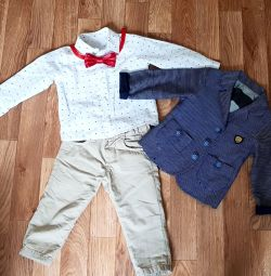 Three piece suit with bow tie