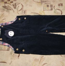 Corduroy overalls, measurements