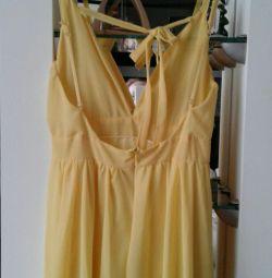 Ένα νέο κίτρινο μέγεθος φόρεμα 46_48 (M)