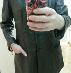 Vintage. Natural leather Trench.
