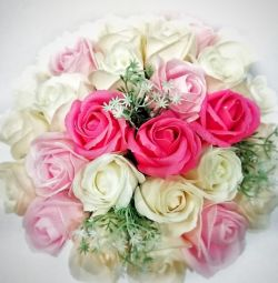 A bouquet of roses in a box