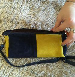 Handbag clutch women of natural suede new