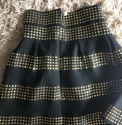 Skirt mini with gold