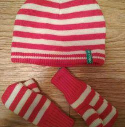 Hat, mittens. Kit. New.