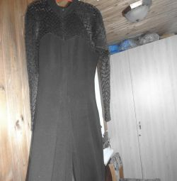 Overalls, knitted, top and sleeves - guipure