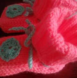Knitted booties - socks, new