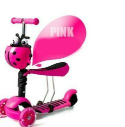 New. Three-wheeled scooter 3v1 pink