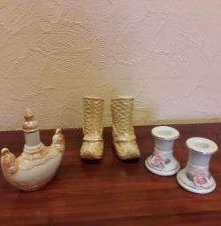 Souvenirs from Mongolia and porcelain candlesticks