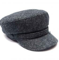 Şapka kaptan yün şapka (gri melanj)