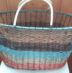Basket of the 80s of the USSR from wire, weaving