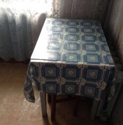 Dining table, two stools