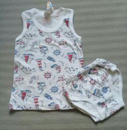Ρυθμίστε τα εσώρουχα μωρών T-shirt 1 έτος