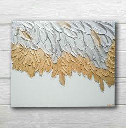 Εσωτερική ζωγραφική ογκομετρική τρισδιάστατα φτερά χρυσού