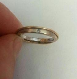 Кольцо золото, б. золото, бриллиант