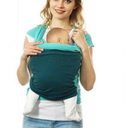 Трикотажный слинг-шарф зелено-синий от Mum's Era