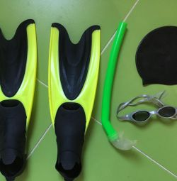 Children's flippers, tube, glasses