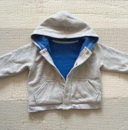 Pulover cald cu gluga (6-9 luni)
