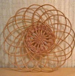Ромашка плетеная из лозы на стену, диаметр 51см
