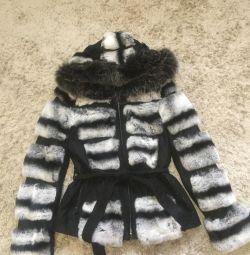 Σύντομη γούνα παλτό Rex κουνέλι, χρώμα τσιντσιλά, μέγεθος S