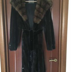 Fur coat mink sable Luina Greece 46 44 M hood mid