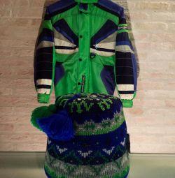 Jacket Diadora with a cap / down jacket sports. Ital