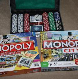 Board games Mafia, Monopoly, Poker