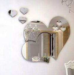 3 d зеркальная наклейка стикер в форме сердца