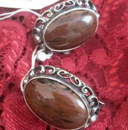 Silver earrings from natural Obsidian.