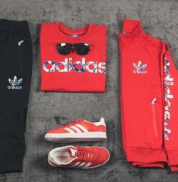 Costum de trei piese Adidas roșu / negru