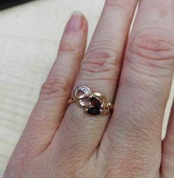 Inel de aur cu rodie și diamant