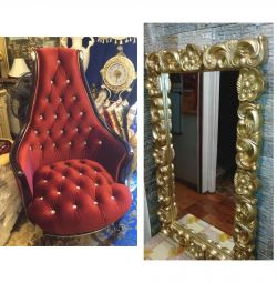 Chair, mirror, bedside table