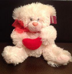 νέα αρκούδα με καρδιά 20cm αφράτο
