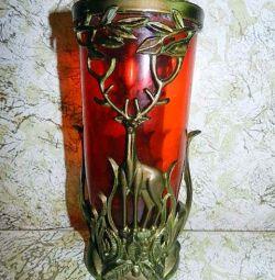 SSCB kırmızı yakut cam vazo