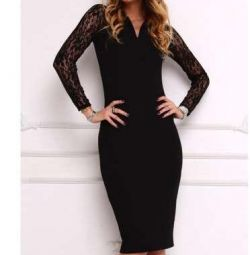Dress with a neckline and a guipure sleeve 42-44 p