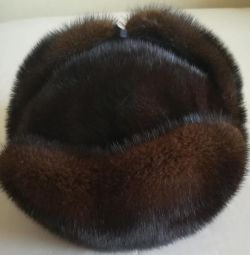 Cap with earflaps mink man's